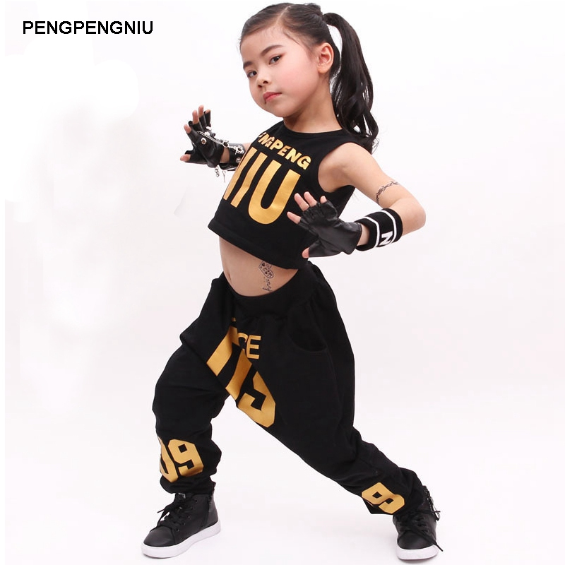 PENGPENGNIU Jazz Dance Costumes for Girls Spring Summer 2018 Kids Street Dance Clothes Sets Teenagers Hip Hop T Shirt Pants Sets