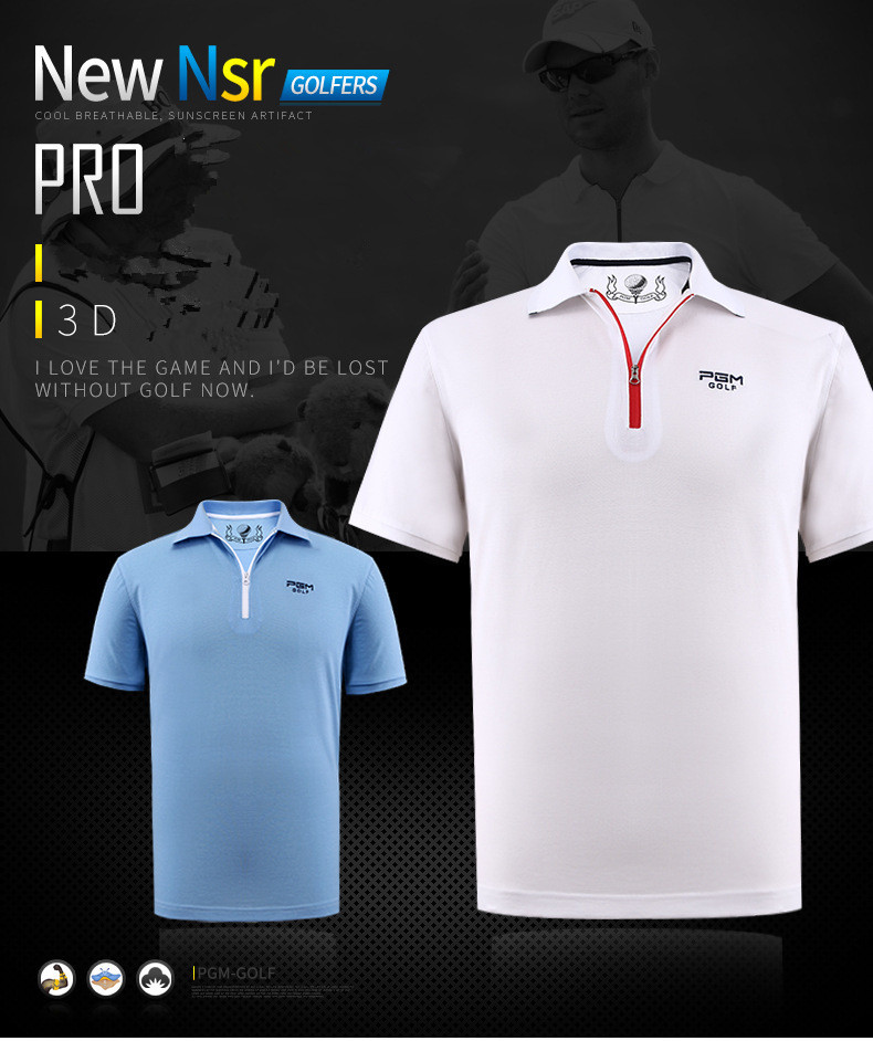 2017 new PGM golf mens Sportswear summer short-sleeved T-shirt breathable quick-drying golf T-shirt mercerized cotton clothing