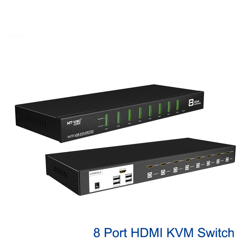 8 Port HDMI KVM Switch 4Kx2K Auto Hotkey Select EDID With Original Cable Set MT-0801HK