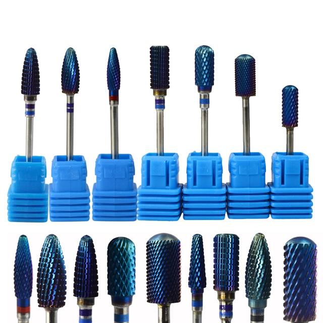 """1 sztuk 9 nowych stylów niebieskie wzory z węglika wolframu 3/32 """"zadziorów Nail Art Bit elektryczna maszyna do manicure wiertła narzędzia do polerowania TR308"""