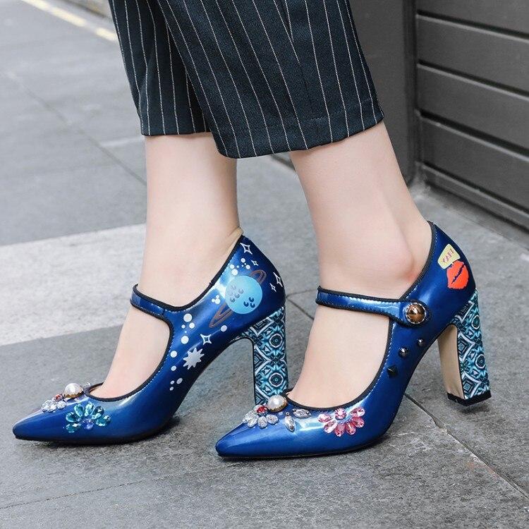 Chaussures Mariage argent Pompes {zorssar} Talons Nouvelle Bout Cheville Courroie Femmes Hauts Arrivée Profonde De 2018 Peu Strass Mode Bleu Pointu aTHwgqa