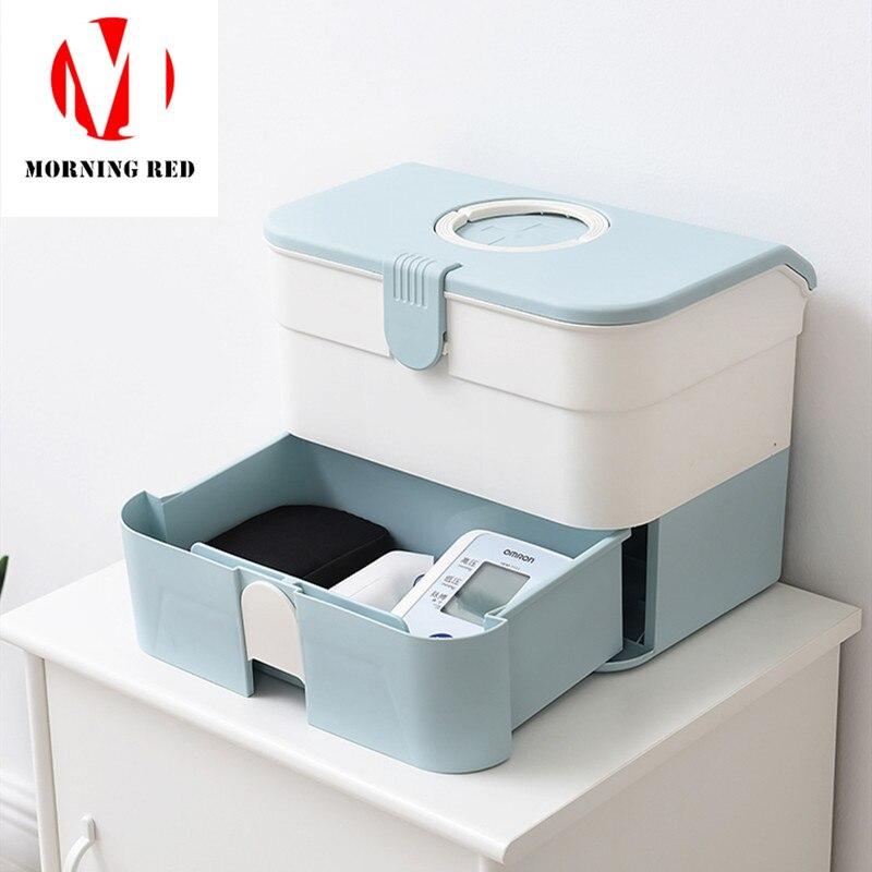 Boîte de premiers secours multicouche portative de tiroir en plastique vert de coffre de médecine de grande capacité de ménage organisateur d'instrument médical à la maison