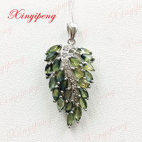 925 silver inlaid natural sapphire pendant shield Ms luxury generous Precious jewelry