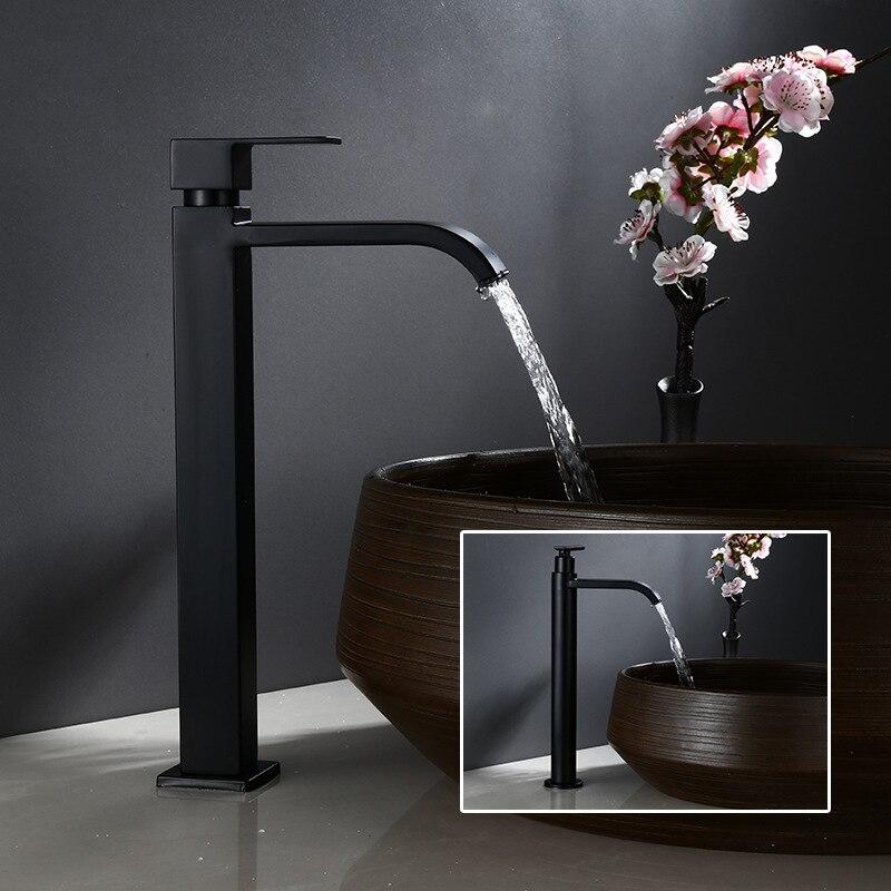 Basin Faucet Waterfall Washing-Tap Bathroom Sink Tall Stainless-Steel Matte Black Deck