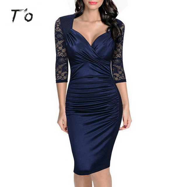 T'O Woman Autumn Elegant See Through Lace 3/4 Sleeve Ladylike Sexy V Neck Ruched Party Evening Sheath Vestidos Bodycon Dress 431