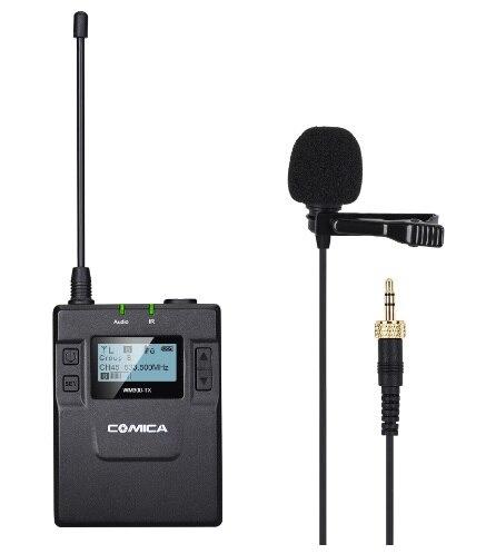 CoMica CVM-WM300TX UHF 96 canaux 120 M Distance de travail en métal Microphone sans fil avec un émetteur Lavalier pour caméscope DSLR