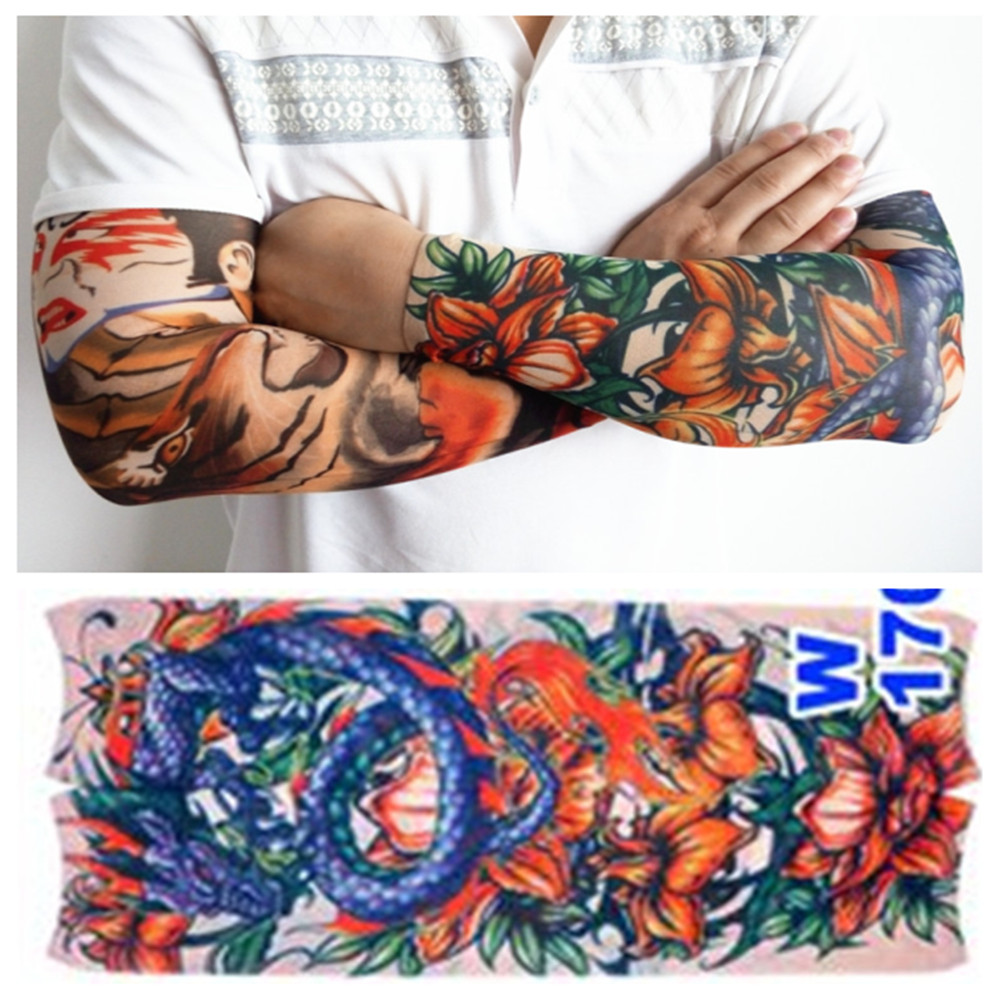 Tattoo Sleeve Fashion Sleeve Warmers Män Punk Fashion Nylon Stretchy Tillfälligt Body Painting Tatouage New Wholesale Du Pick