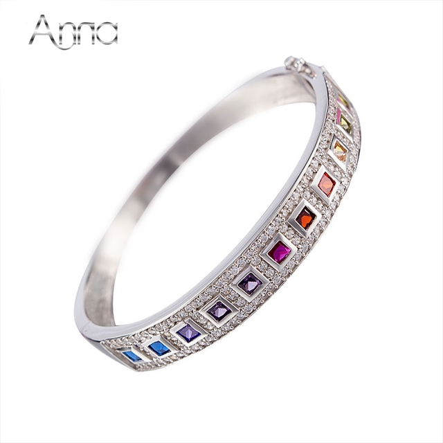 A&N New Fashion Rainbow Real 925-Sterling-Silver Bangle Bracelets For Women Colorful Cubic Zirconia Bracelets Best Friends Gifts