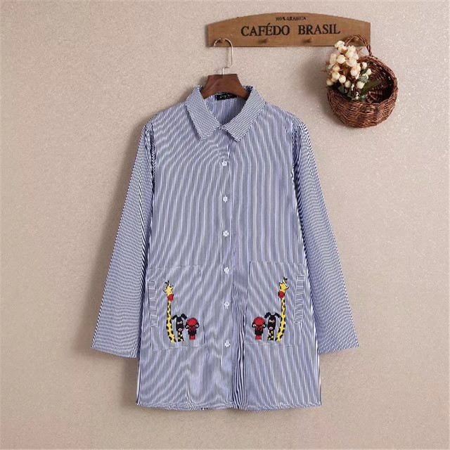 e1449674737 plus size 5XL deer embroidery striped blouse women tops shirt 2018 new top  women shirts female blouses chemise femme blusa