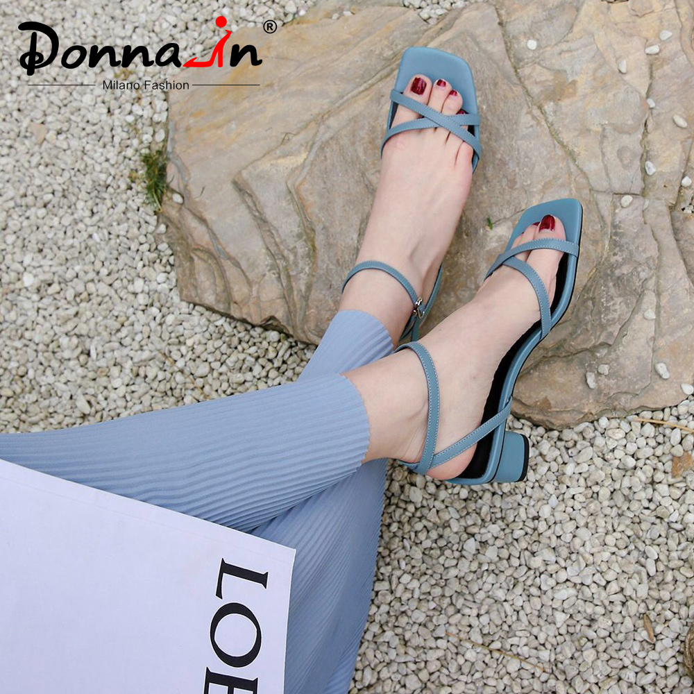 Donna in Strappy Block Heel Sandals Women Square Toe Genuine Leather Thick Heel Buckle Fashion Shoes