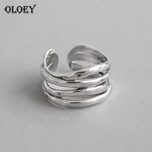 OLOEY Vintage INS Multi-layered Winding Lines Wide Rings for