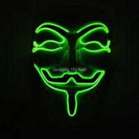 Moda Klasyczne Holloween EL drutu V JAK VENDETTA maska maskarada maska całą twarz 10 Kolory DOPROWADZIŁY Neon Rope Tube 100 sztuk