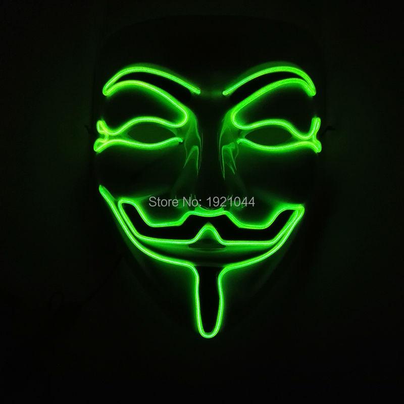 Mode classique halloween mascarade masque visage complet EL fil V pour VENDETTA masque 10 couleurs LED néon corde Tube 100 pièces