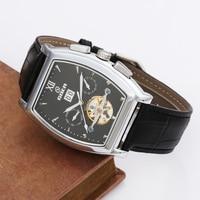 GOER Tourbillon Mechanical Watches PU Leather Strap Tonneau Automatic Mechanical Wrist Watches Men Wristwatch Relogio Masculino