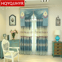 Luxury Custom Villa Classic Blue High Shade Curtains For Living Room Upscale Elegant Purple Embroidery Curtains