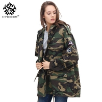 hydiber 2018 New Spring Autumn Women Camouflage Army Green Hooded Outwear Coats for Ladies Embroidery Long Sleeve Tops Clothing