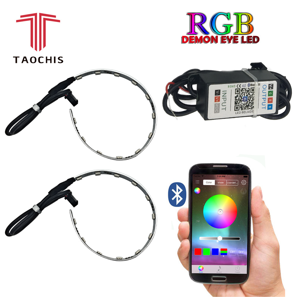 TAOCHIS 2Pcs Auto RGB headlight Projector Led Devil Eye Demon Eye Lamp For Car App Remote Control projector headlamp angles eye
