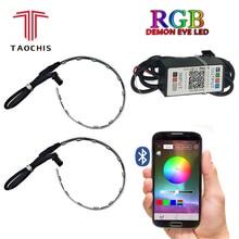 TAOCHIS 2 Pcs Auto RGB del Proiettore del faro Led Occhio del Diavolo Demone Occhio Lampada Per Auto App Remote di Controllo del proiettore del faro gli angoli degli occhi