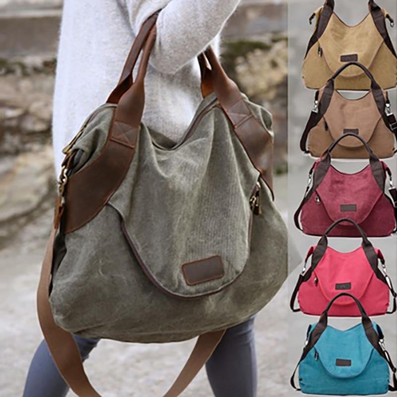 Brand Women Bag Large Pocket Casual Women's Handbag Shoulder Bag Female Crossbody Bag Canvas Leather Women 39 S Bags Sac A Main