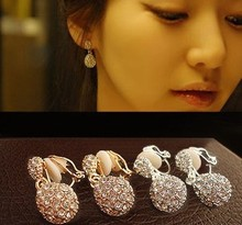 Full shiny rhinestone non-pierced earrings droplets water drop without piercing earrings no pierced ear clip brincos