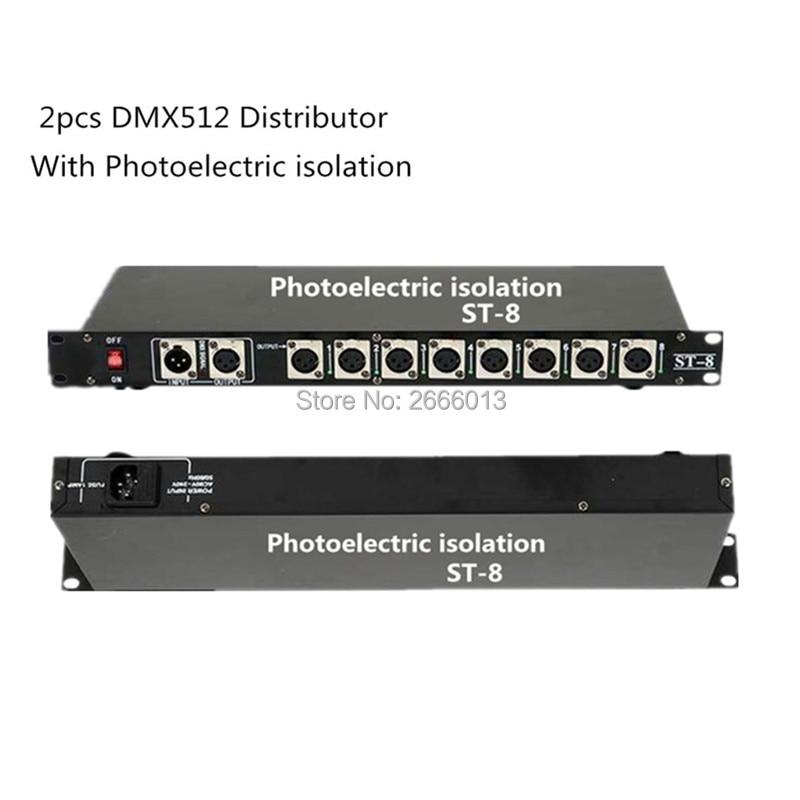 все цены на 2pcs/lot DHL/FedEx Free shipping DMX512 Splitter Light Signal Amplifier Splitter 8 way Photoelectric isolation DMX Distributor онлайн