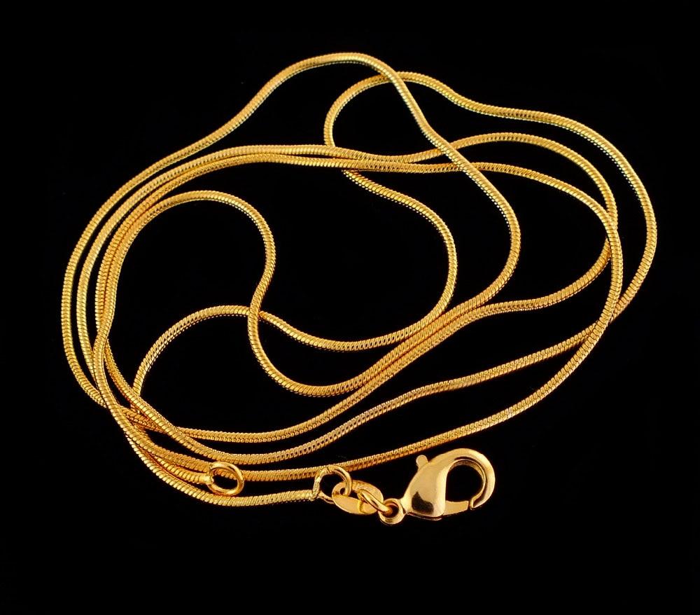 """Clever Heißer Verkauf Gold Farbe Schlange Ketten Halskette Ketten, 1mm Gold Farbe Schlange Kette Halsketten Für Frauen 16 """"-30"""""""