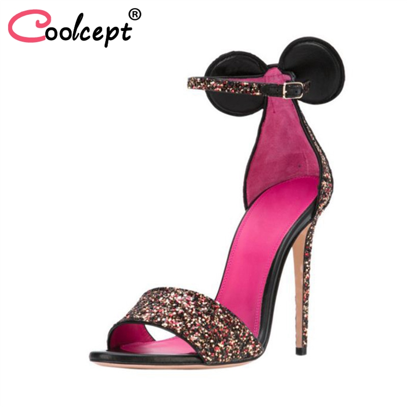 Coolcept Size 35-45 6 Colors Women High Heel Sandals Ankle Strap Bow-Not Thin Heel Ladies Summer Shoes Ornate Wedding FootwearCoolcept Size 35-45 6 Colors Women High Heel Sandals Ankle Strap Bow-Not Thin Heel Ladies Summer Shoes Ornate Wedding Footwear