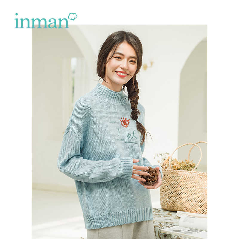 INMAN Autumn New Arrival Female Half-high Collar Embroidery Literary Loose Women Pullover Sweater