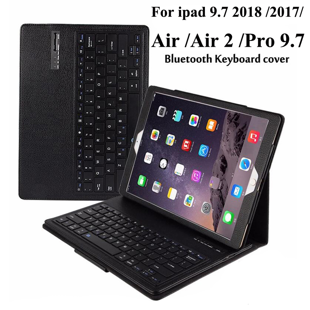 For iPad 9.7 2018 6th Gen/ Air 1 / Air 2 / Pro 9.7 / 2017 5th Wireless Bluetooth Keyboard+PU Leather Cover Protective Smart Case