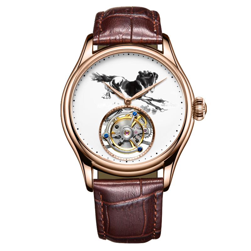 MULILAI Mens Mechanical Watch Animal Horse Pattern Waterproof High-End Genuine Leather Strap Man Tourbillon Mechanical WatchesMULILAI Mens Mechanical Watch Animal Horse Pattern Waterproof High-End Genuine Leather Strap Man Tourbillon Mechanical Watches