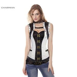 Image 4 - Charmian المرأة حجم كبير Steampunk مشد الأبيض الصلب الجوفاء النهضة خمر مشدات القوطية و المشدات مربوط أعلى