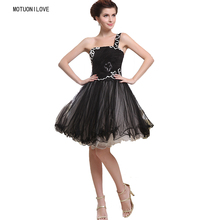 Tulle Short Cute 8th Grade Graduation Dresses One Shoulder Little Black Dress Plus Size Women Prom vestido de formatura