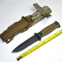 Venda quente, sobrevivência de Aço Fixa Lâmina de Caça Faca de acampamento de caça faca de Sobrevivência de bolso [Preto/Brown]