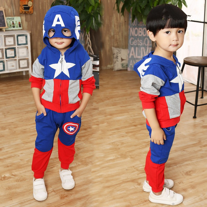 Christmas costumes for the boys cartoon kids winter clothes kigurumi sets outfit children cosplay Captain America tops+pants 2015 new arrive super league christmas outfit pajamas for boys kids children suit st 004