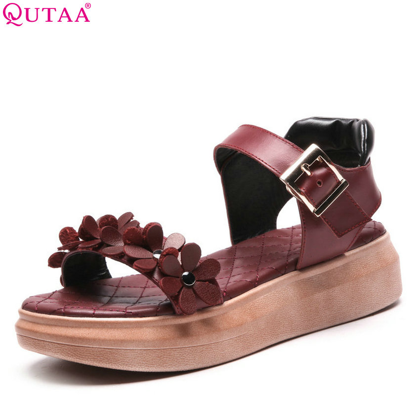 QUTAA 2018 Women Pumps Round Toe Fashion Cow Leather +pu Women Shoes Platfrom Wedges Heel Buckle Wedding Pumps Size 34-43 women pumps 2016 new fashion female mature round toe buckle pu leather female shoes white khaki size 35 39 wwh013