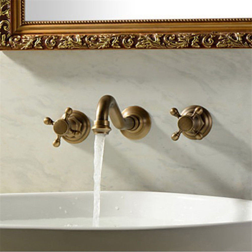 bathroom Antique Retro Basin Mixer 3 pcs in wall faucet European Classic Style Dual Handle 3 hole Fashion and Elegant Sink Taps pastoralism and agriculture pennar basin india