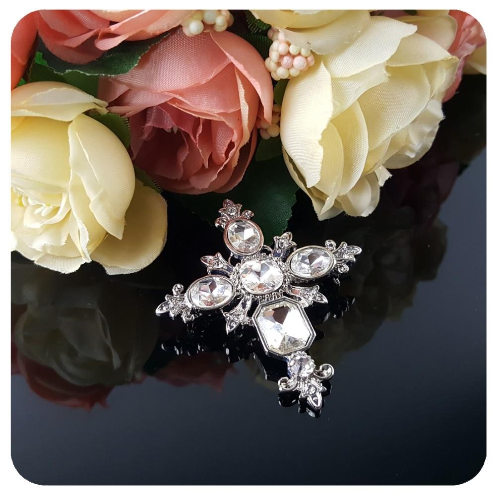 Vintage Style Crystal Gothic Cross Brooch Pin - Նորաձև զարդեր - Լուսանկար 3