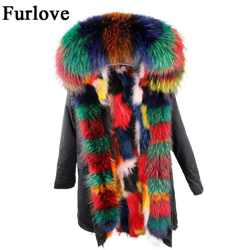 Womens Winter Jacket Women Coat Hooded Jackets Real Raccoon Fur Parka Vintage Warm Thick Army Green Black Camouflage Long Parkas new winter rabbit fur coat women long real fur parka hooded jacket female army black big nature raccoon fur collar parka fur