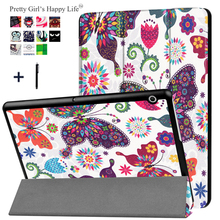 For HUAWEI MediaPad T3 10 9.6'' Case Stand Flip Leather Capa For Huawei T3 10 9.6 inch Tablet Cover Print Fundas+Stylus(China)