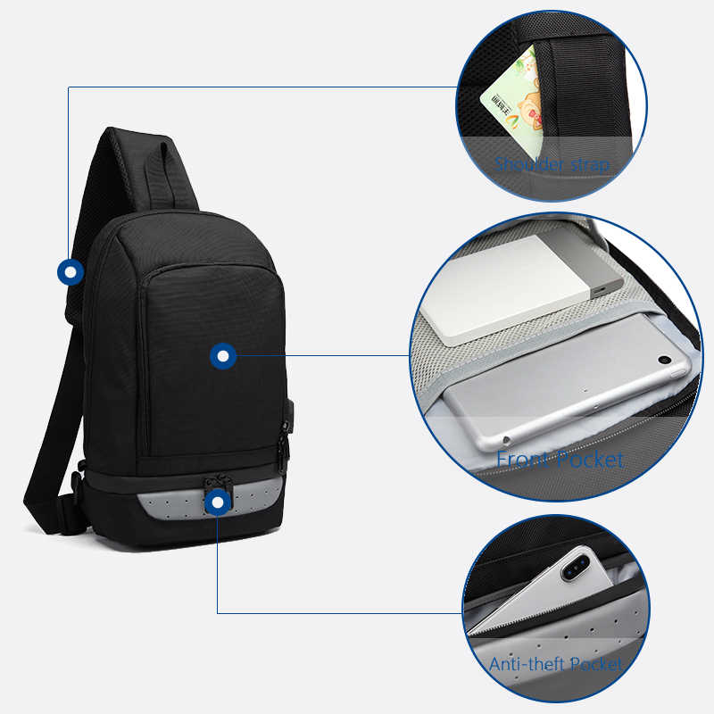 Bolsos cruzados para hombre multifunción OZUKO carga USB Paquete de pecho repelente al agua bolsa de mensajero para hombre bolsa de hombro Casual