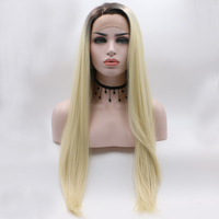 Fantasy Beauty Ombre Blonde Glueless Lace Front Wigs Long Straight Synthetic Hair Wig For Women 2 Tone Color Dark Roots