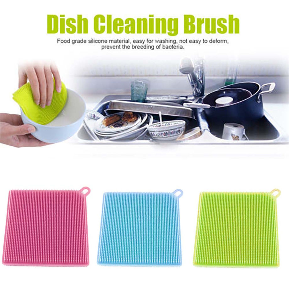 Eco-Friendly 1Pcs Silicone Dish Washing Sponge Scrubber Kitchen Cleaning antibacterial Tool 11.5*11.5*1.5cm Dropshipping #&925