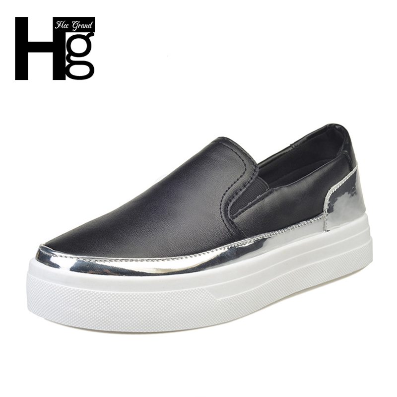 HEE GRAND 2018 Spring Real Photo Women Pu Causal Flats Outdoor Platform Loafers Slip on Solid Rubber Round Toe Shoes XWD6330 annymoli women flat platform shoes creepers real rabbit fur warm loafers ladies causal flats 2018 spring black gray size 9 42 43