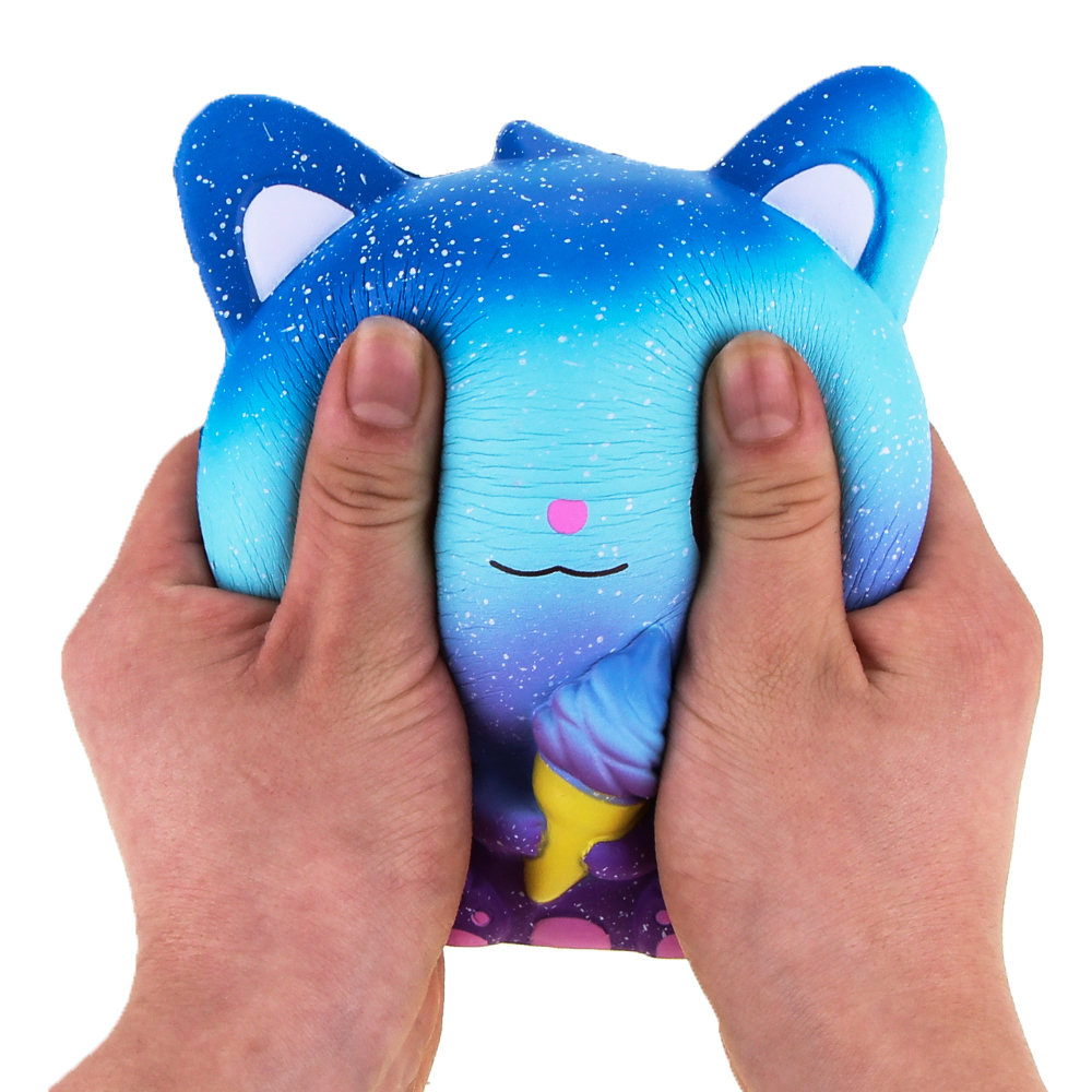 Jumbo Squishies Slow Rising Scented Ice Cream Cat Kawaii Squishy Stress Relief Toys Jumbo Decoration Squishy Fun Collection For Kids and Adult (Galaxy Blue) (6)