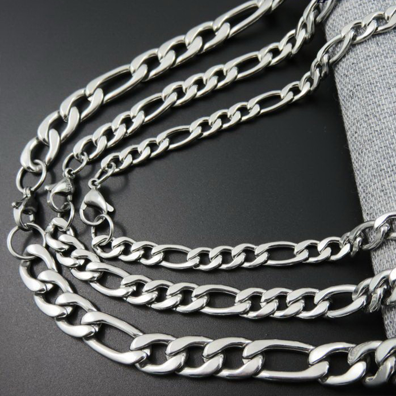 Oulai777 Stainless Steel Hip Hop Men Necklace Women men 39 s pendant Decoration on The Necklace 2019 Male Figaro Chain long jewerly in Chain Necklaces from Jewelry amp Accessories