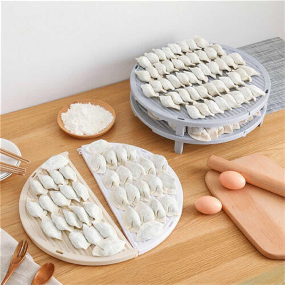 Persegi/Bulat Dapat Dilipat Nampan Makanan Mie Pangsit Tirai Sendok Garpu Nampan Saluran Rak Dapur Hidangan Penyimpanan Perlengkapan