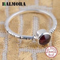 BALMORA 100% Real 925 Sterling Silver Jewelry Red Tourmaline Elegant Rings Women Party Wedding Gift Delicate Ring TRS21308