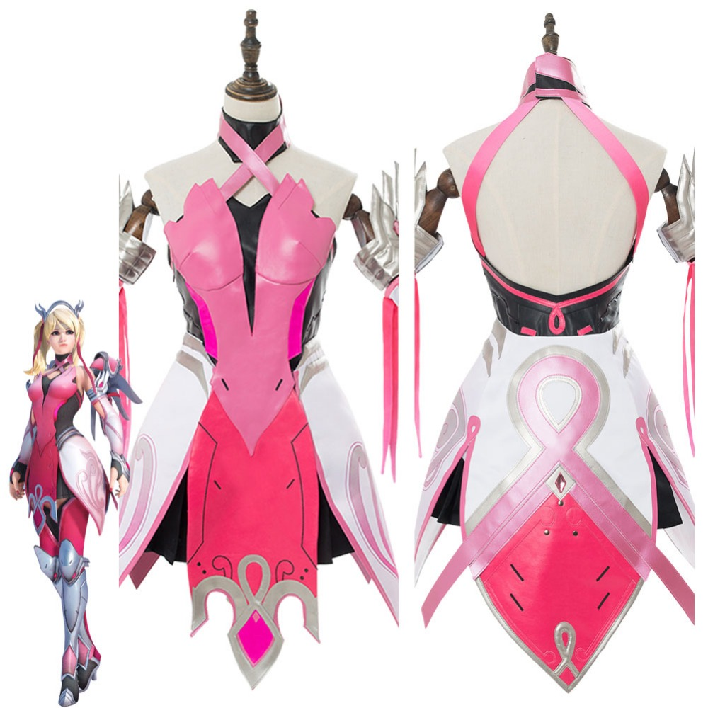 OW Cosplay Costume Mercy Angela Ziegler Outfit Pink Mercy Skin Cosplay Costume For Girls Females Halloween Carnival Custom Made