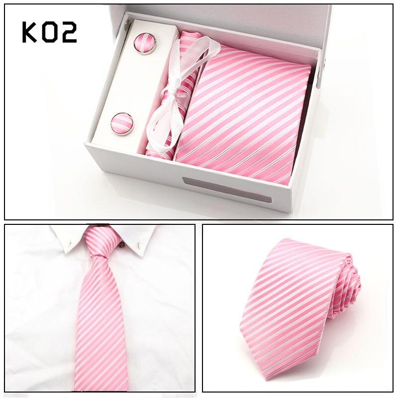 Fashion Mens 8CM Ties Sets Cufflink Cravat Tie Clips Pink Striped Formal Necktie Luxury Anniversary Cocktail Party Neck Tie Set