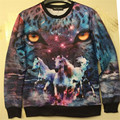 2016 New fashion  women/men high-quality  leopard and horse print 3d sweatshirt hip hop hoody 3d casual pullover